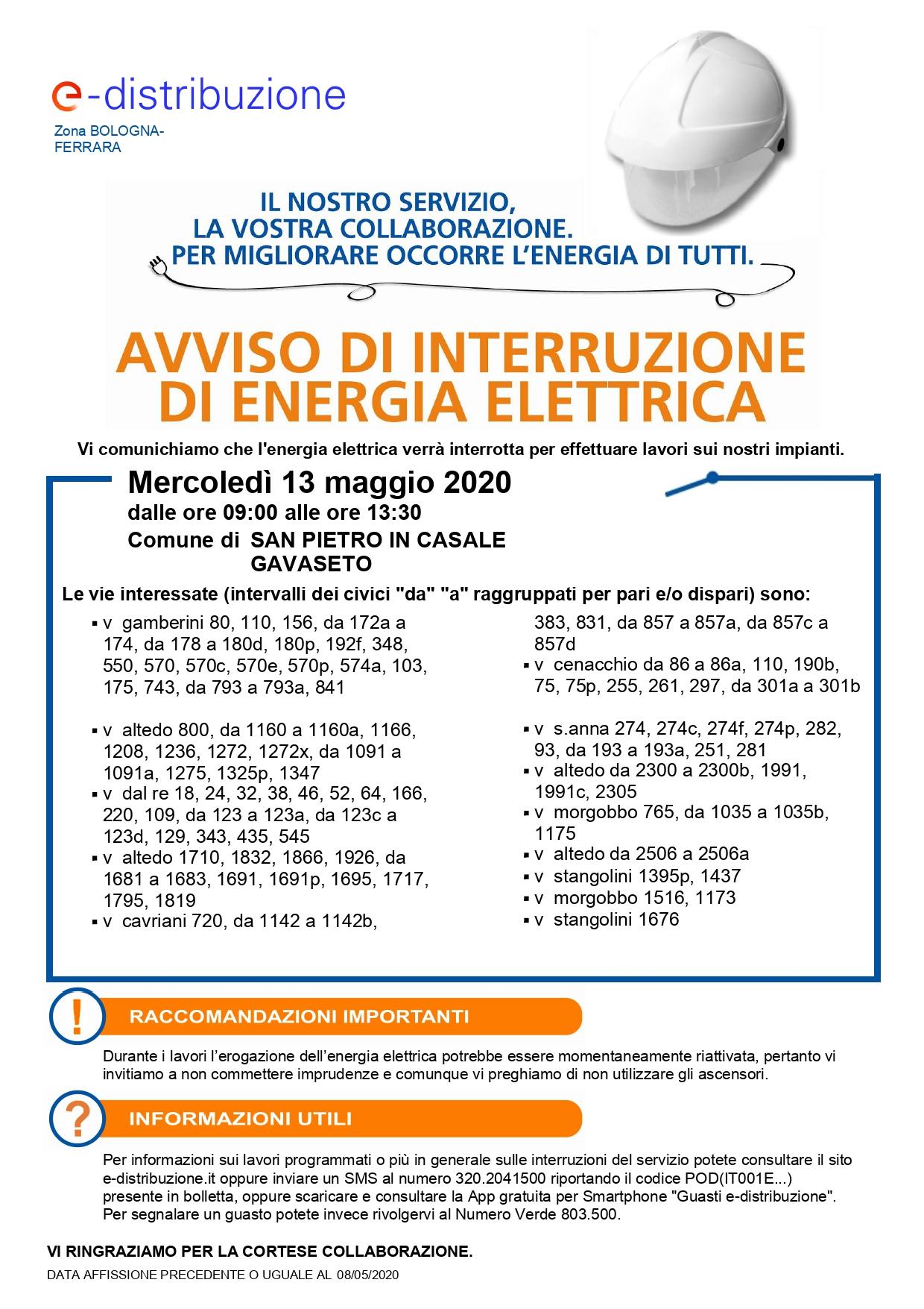 Interruzione elettricità 8 maggio 2020